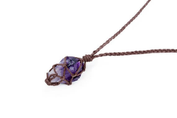 Raw amethyst necklace boho jewelry raw crystal jewelry aloadofball Image collections