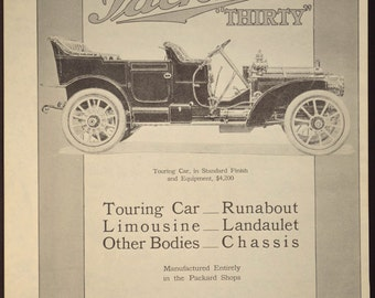 LARGE Antique Automobile Ad Advertisment Advertising Packard Car
