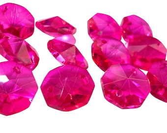 25 Fuchsia Pink Chandelier Crystal Octagon Beads 14mm