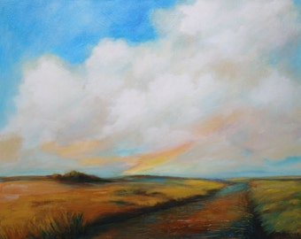 Original Landscape painting with big clouds, calm, poetic.