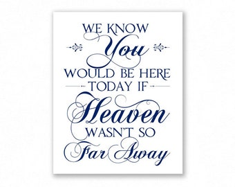 Navy Blue Printable Memory Table Sign, Wedding Sign, We Know You Would Be Here Today, Remembrance, #MM14N