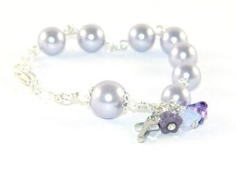 Christian Bracelet, Anglican Rosary Bracelet in Swarovski® Lavender Pearls