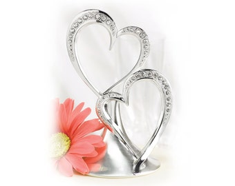 Double Hearts Wedding Cake Topper Silver Plated With Sparkling Rhinestone Accents.