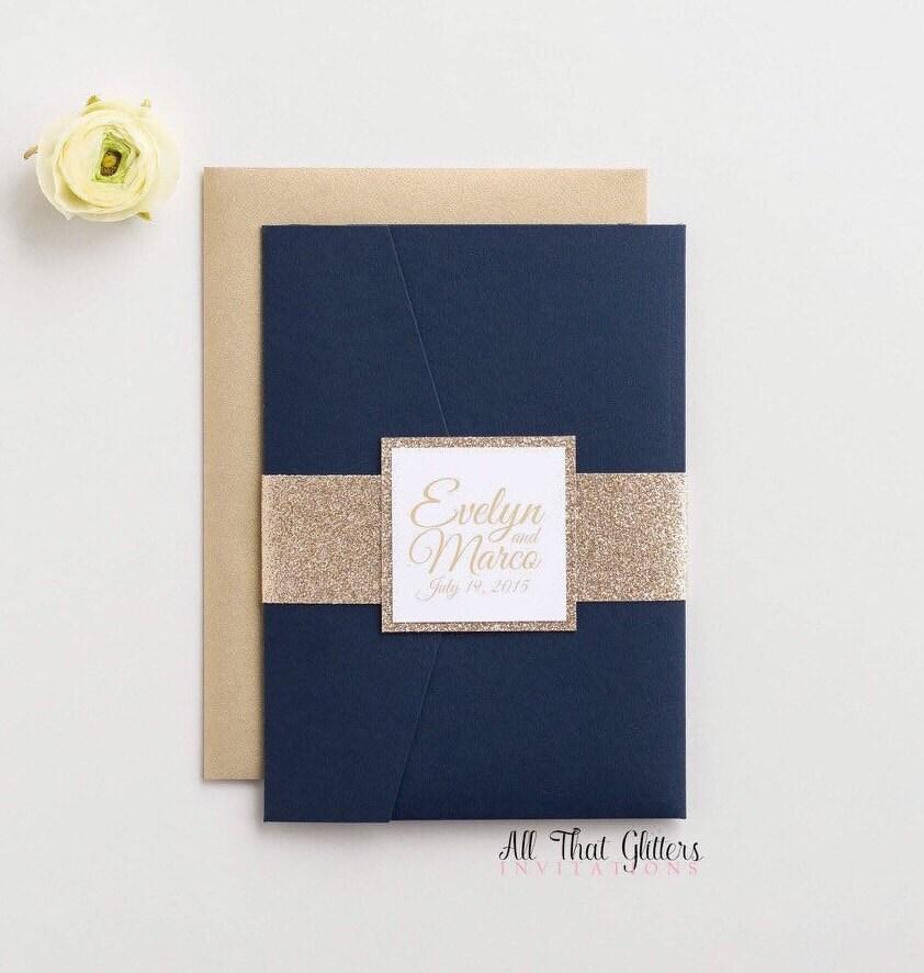 Midnight Blue Wedding invitation gold wedding invitations