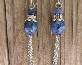 Earrings, lapis lazuli, rhinestones and fringe, tassel, blue, stone beads.