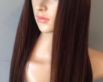 Stylish chemo hat with bespoke human hair wig.