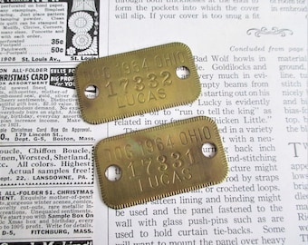 Pair of Vintage Brass Dog Licenses - Lucas County Ohio 1964