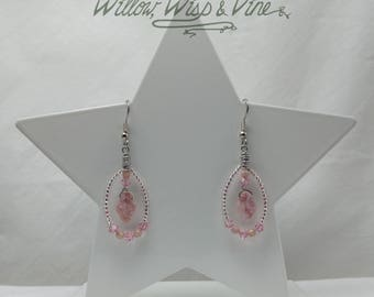 Czech Glass and Swarovski Earrings - Picasso Pink 1