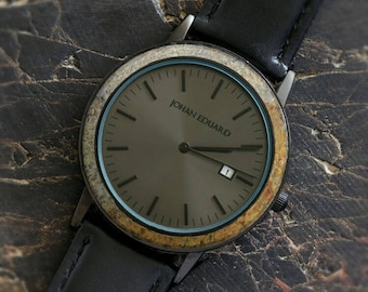 Unique Dinosaur Bone Wristwatch, Matte Black Watch And Leather Strap, Fossil Jewelry, Johan Eduard Watches
