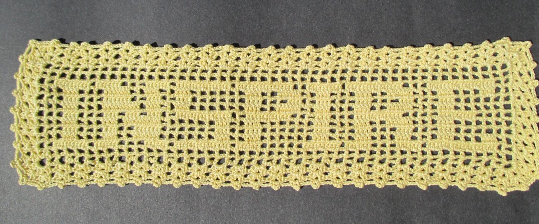 Crocheted Doily Yellow Filet Inspire Filet Doily Word