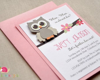 Owl Baby Shower Invitations · A2 LAYERED · Blossom Pink and Gray · Baby Sprinkle | Birth Announcement | Birthday Party | Little Hoot