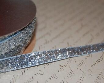 3/8 Metallic Silver Velvet Ribbon