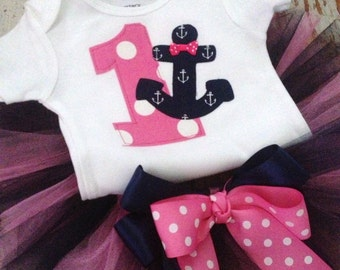 Tutu Set - Birthday, Nautical, Anchor, Sail-A-Bration -  Size 12M thru 5T