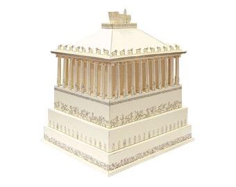Mausoleum at Halicarnassus, hand assembled miniature model || Greek architecture landmark in Turkey