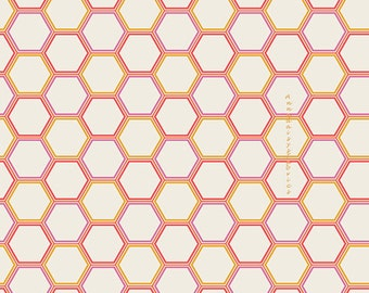 Honeycomb Fabric, Art Gallery Sweet as Honey SAH-1608 Honeycomb Marmalade, Bonnie Christine,  Hexagon Quilting Cotton Yardage