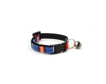 Striped Cat Collar Blue Red Mexican Serape Cat Collar Girl or Boy Kitty Collar with Breakaway Buckle and Bell