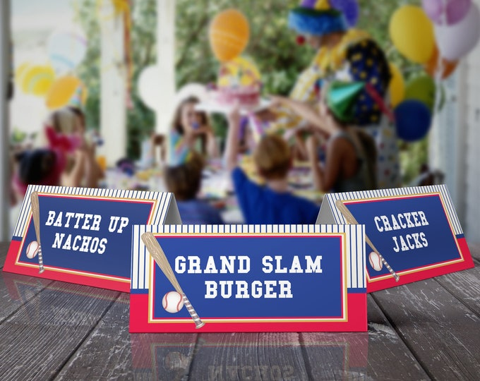 Baseball Food Labels | Little Slugger Party, Birthday, Baby Shower | EDITABLE Text - INSTANT Download Printable PDF