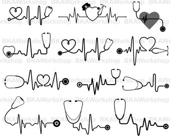 Stethoscope svg - Stethoscope heart beat svg - Stethoscope heart beat digital clipart for Design or more, files download svg, png, dxf