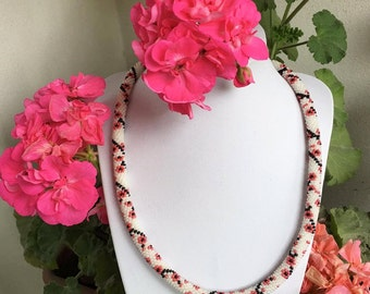 Mothers Day, Gift for mom, Sakura Necklace, Cherry Blossom, Crochet Necklace, Handmade Necklace, Beadwork Necklace, Floral Necklace