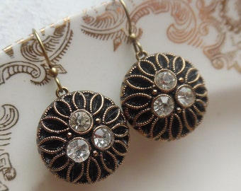 Midnight Black Sunflower, Vintage La Mode Glass Button Earrings