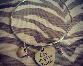 Love. Inspire. Teach. Teachers Bracelet. Silver Bangle.
