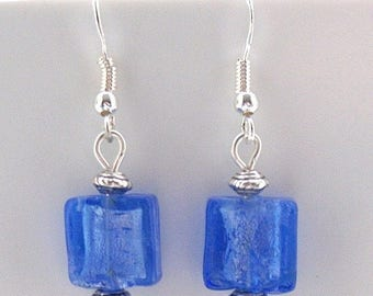 Blue Indian Glass Earrings with Sterling Silver Hooks New Drops Dangle LB20