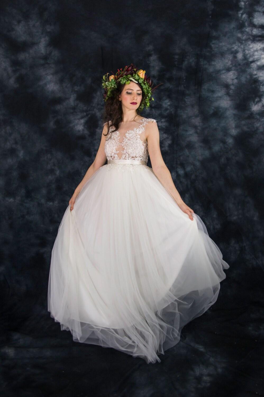 Elfenbein Tattoo Spitze Hochzeitskleid Brautkleid Elfenbein