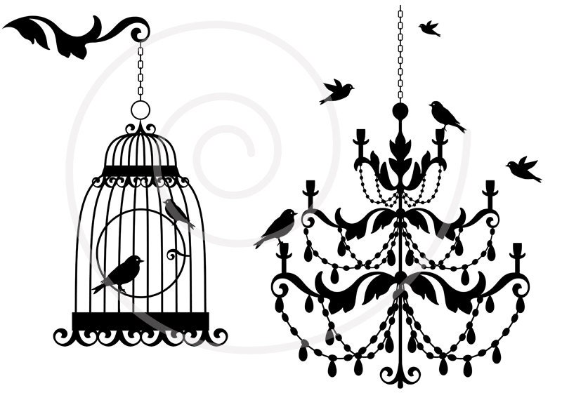 Vintage chandelier with birds and birdcage lamp clipart zoom aloadofball Images