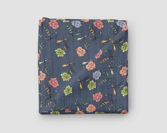 Organic Cotton Gauze Swaddle Blanket - Posies in Navy