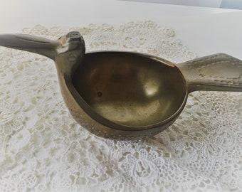 Vintage Solid Brass Bird Bowl