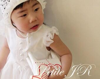 Set m-Baby Christening Dress(Bonnet+Bloomer+Longdress), Handmade, Baptism Dress, Party Dress, White Dress, Infant dress, Cotton Dress