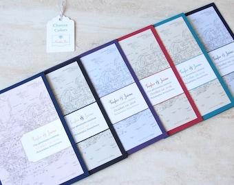 Vintage Wedding Invitation Booklet - Vintage Map Destination Wedding Design - SAMPLE