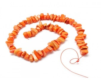 orange 70 color mother of Pearl chips beads