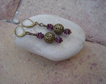 Brass Filigree Earrings with Amethyst Swarovski Crystals and Filigree Beads