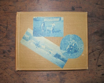 Vintage photo album Cyanotype photos on Cover EMpty ready for your photos