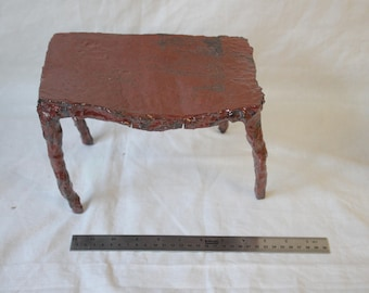 Table top table. Deep red  ceremonial stoneware nature table large