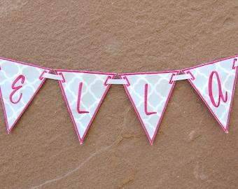 Girl Name Garland, Girl Banner, Personalized Decor, Personalized Banner, Name Banner, Birthday Banner, Baby Girl, Custom Name Banner, Gray