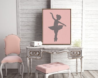 Canvas Prints Wall Art or Giclee Print for Home Decor or Nursery with Pink and Modern Feel ballerina Gift Idea
