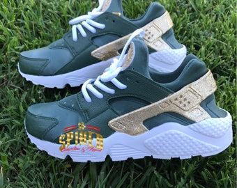 Custom Olive Green and Gold Glitter Nike Air Huaraches with glitter logo (Women & Men sizes - contact me for kids)