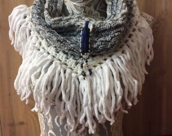 Pale Gray Blue Jay cowl... knit crocheted fringed yarn soft scarf leather tie bohemian boho