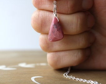Rhodonite Necklace for Women Sterling Silver . Compassion Necklace . Love Stone necklace . Pink Gemstone Necklace Drop