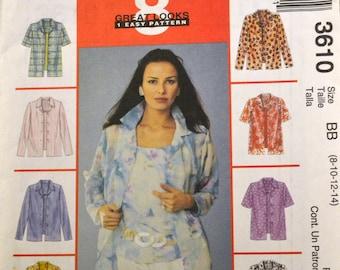 Misses' Shirts Sewing Pattern McCall's 3610  Misses' Shirts Bust 30-36 inches  UNCUT Complete