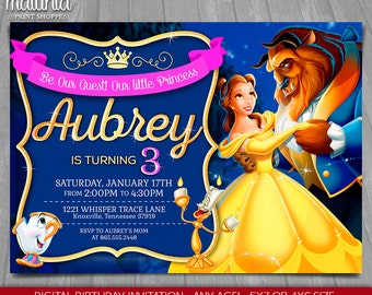 Princess Belle Invitation - Beauty and the beast invitation - Disney Belle Birthday Printed or printable invite - Be my guest (BEIN04)
