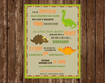 Dinosaur Birthday Invitation, Dinosaur Party, Dino Party, Boy Birthday