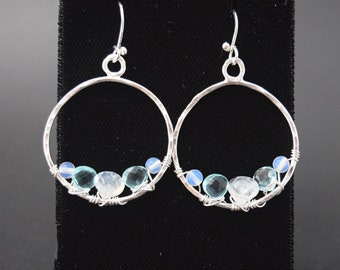 Silver Hoop Earrings With Blue Topaz and Moonstone Magical!