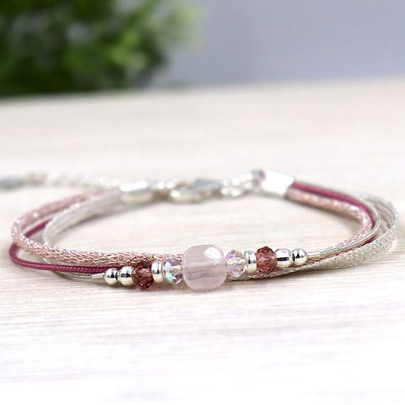 Pink bracelet cord multi strand swarovski pearls and quartz gemstones