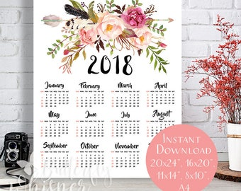 Downloadable 2018 Boho Calendar Printable , Wall Calendar, Floral Yearly Large Calendar, Flower Bohemian art A4, 8x10, 11x14, 16x20, 20x24""