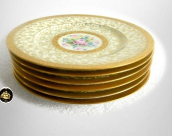 Hutschenreuther vintage set of six plates - floral and gold