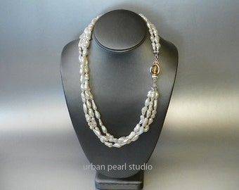 Multi Strand Pearl Necklace, Long Pearl Necklace, Labradorite Clasp, Pearl Earrings Necklace Set