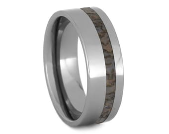 Tungsten Ring, Dinosaur Bone Wedding Band, Unique Mens Ring With Fossil